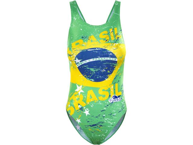 Turbo Brasil Leveähihnainen Uimapuku Naiset, green/yellow